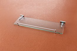Wholesale Glass Shelf Wall Mounted Chrome Single Tier Glass Bathroom Shelves with Stainless Steel and Copper for Sale