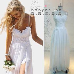 Cheap Summer Beach Bohemian Wedding Dresses Spaghetti Backless White Ivory Lace Chiffon Long Split Bridal Gowns vestidos de novia CPS071