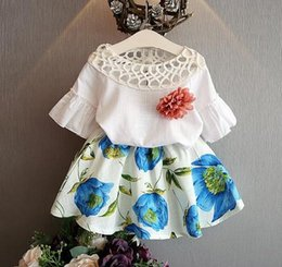 Wholesale Childrens Flower Tops - 2 Pcs Set 2016 Spring Childrens Girls Bubble Sleeve Casual Cotton Children Suit Top+Pant,Kids Sport Flower Print Skirt Outfits.5 Sets lot A