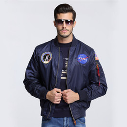 Wholesale NASA Thin Mens MA1 Bomber Jacket USAF Kanye West Hip Hop Sport Male Windbreaker Jacket Flag Mens Nasa Jacket