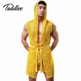 Wholesale men pajamas long mens robe men robe bathrobe sexy mesh sheer gay wear men lounge set tops kimono men sleepwear bath wear