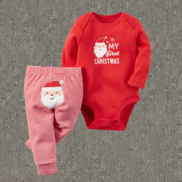 Wholesale MY father christmas Santa Claus boys girls unisex bodysuits clothing sets children One Pieces baby jumpsuit rompers kids Joggers trousers