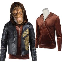 Capas superiores del traje en venta-Movie Suicide Squad Asesino Croc Whalen Jones cosplay traje Top Coat Jaket para hombres adultos Halloween personalizado