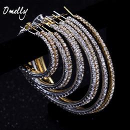 Wholesale 18K Gold Filled Basketball Wives Crystal Hoop Earrings Party Jewelry Rhinestone Big Size Circle Round Hoop HitHop Huggie Earrings