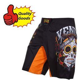 Wholesale Quality goods MMA UFC SANTA MUERTE FIGHT SHORTS Muay Thai Boxing shorts Black
