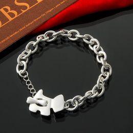 "Women's Round Link Bracelet 8"" Dog&Bone Cute Toggle Closure - 925 Sterling Silver"