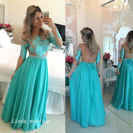 Free Shipping Long Sleeve Turquoise Prom Dress New Jade Green Long Chiffon Formal Party Celebrity Inspired Gown