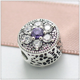 New 2016 Spring 925 Sterling Silver Forget Me Not Charm Bead with Purple and Clear Cz Fits European Jewelry Bracelets & Necklace