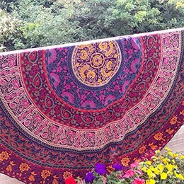 20pcs Indian Mandala Round Roundie Beach Throw Chiffon Printed Tapestry Hippy Boho Tablecloth Beach Towel Round Yoga Mat Large Shawl