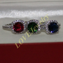 Lady's 925 Sterling Silver Round Ruby Sapphire Emerald CZ Gem Stone Engagement Wedding Ring Brand Jewelry for Women