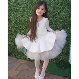 Cute Short Tutu Flower Girls' Dresses Crew A Line Tull Pageant Dresses for Kids Girls Communion Dress With Long Sleeve Sheer Lace