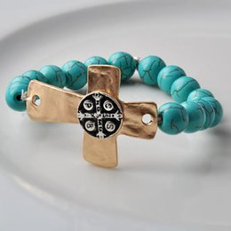Wholesale New bracelet Antique brass cross with words center natural Semi Precious Stone Beads turquoise lava bangle fashion Jewelry for women girl