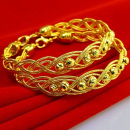 Don't rub off the gold bracelet female imitation 999 gold jewelry Jewelry Wedding twist woven pattern Bracelet beads