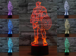 Wholesale 3D ABS base Captain America Night Lights LED touch switch table lamp fashion Sleep night light C868