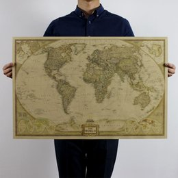 Wholesale 2size Large Vintage Home Decoration Detailed Antique Posters Wall stickers Chart Retro Paper Matte Kraft Paper Map Of World