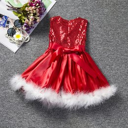 Wholesale American Girls Dress Sequin Feather Christmas Day Princess child dress Gauze Skirt Dresses For Kids Best Gift A200