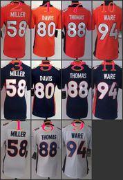 Wholesale Women NIK Game Football Stitched Broncos Miller Davis Thomas Ware White Orange Blue Jerseys Mix Order