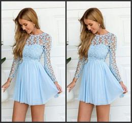 Short Prom Flowers Lace Long Sleeves Iullsion Jewel Neck Mini Length Party Dress Graduation Dress Celebrate
