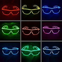 EL Glasses EL Wire Fashionable Neon LED Light Glowing Sunglasses Rave Costume Party DJ Multiple Colors