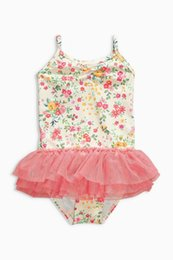 [New arrival] [Hot sale] next 16 British purchasing product new summer Girls child pink flower ballet skirt one-piece swimming dress