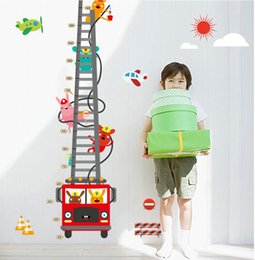 Wholesale high quality Cartoon Fire Truck Waterproof Removable Wall Height Sticker for Child Bedroom Home Decoration