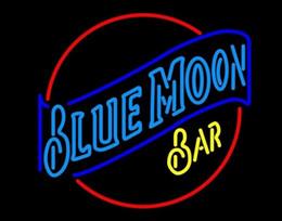 "New Blue Moon Bar Neon Sign KTV Disco Pub Custom Handmade Real Glass Tube Advertisement Display Neon Signs 24""X24"""