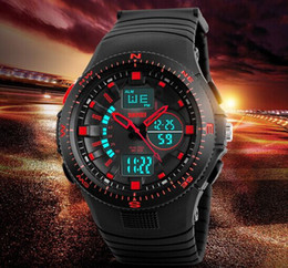 Wholesale New Outdoor Elite Men Multifunction Rotatable 5ATM Dual Time Sport PU Strap Wrist Watch 1198