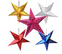 Wholesale Three dimensional laser pentagram Condole is hanged adorn The five star Christmas decoration Christmas decoration stars Christmas paper