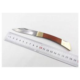 Factory Direct High Quality Ghillie Folding Blade Knives Fruit knife Wood + Copper head Handle Knife Mini EDC Pocket Survival Knife