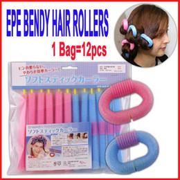 Wholesale Soft Bendy Foam Curlers - SOFT ANION EPE BENDY HAIR ROLLERS STYLING FOAM CURLERS SALON HAIR DO DIY Self-adhesive Magic EPE Foam Hair Roll Stick 12pcs lot