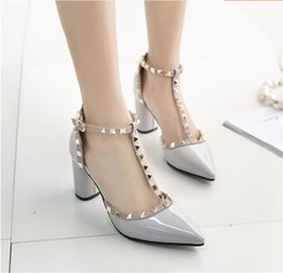 T Strap Heels Woman Punk Studs Leather Wedding Pumps Sexy Ankle Strap Patent Leather Run Way Pump Sandals Summer Pointed Toe High Heels