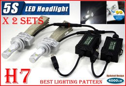 Wholesale DHL Sets H7 W LM S th LED Headlight System Kit LUMILED LUXEON ZES CHIPS SMD Fanless Aluminum Belt Driving Lamp Bulb Single Beam