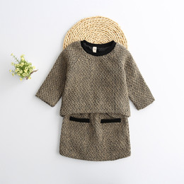 Wholesale 2016 winter new arrival girls sweater set wool sweater kids fashion cute girls sweater y childrens clothes