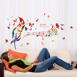 Wholesale DIY Colorful Musical Note Home Decor Music Wall Sticker Removable Vinyl Decal Babys Room Bird Feathers Mural Decoration
