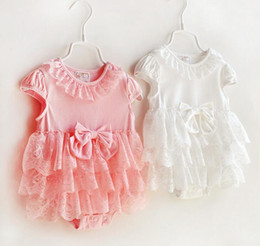 Kids Infant Triangle clothes 2 color Toddler Baby bowknot lace tutu Romper Dress Baby Girls Sleeveless Princess Birthday cake Jumpsuits