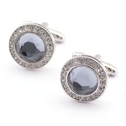 Classic Crystal Glass Circular Gray Shirt Cufflinks Men's Shirt Cufflinks Brand Cuff Button Popular Copper Cufflinks 980008