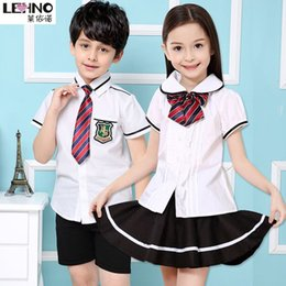 Wholesale Primary School Uniforms Cotton Girls and Boys School Clothes Kindergarten Students Wear Summer Short Sleeved Shirt Skirt t y