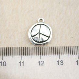 30Pcs 13mm antique Silver Tonepeace symbol Charms Zinc Alloy DIY Handmade Jewelry Pendants Wholesale