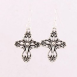 Wholesale 20 x45 mm Antique Silver Filigree Heart Cross Religious Charm Pendant Earrings Silver Fish Ear Hook Jewelry E425