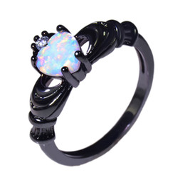 Wholesale & Retail Fashion Fine white Fire Opal Rings 10KT Black Gold Filled RJL170508001