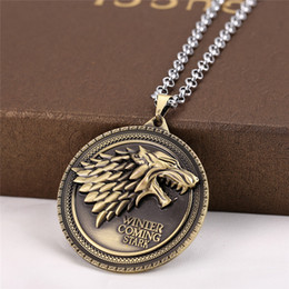 Film Game of Thrones Wolf Necklace A Song Of Ice And Fire Film House Stark Sign Pendant Necklace