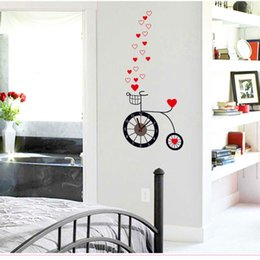 Wholesale New fashion D big size wall clock Removable Love Cycling living room home sofa clock DIY stickers Decal XT