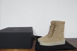 Wholesale Kanye West Season Suede Crepe Army Boots Mens Khaki Ankle Boots Size