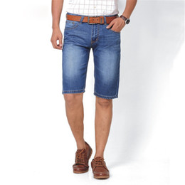 Business Mens Shorts Jeans Fashion Casual Knee Length Total Cotton Straight Ripped Shorts Large Size Cheap 7111