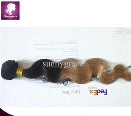 Peut teindre remy extensions de cheveux en Ligne-Deux tons vague de corps de couleur 14 pouces extension de cheveux brésiliens cheveux remy trame peut être teint
