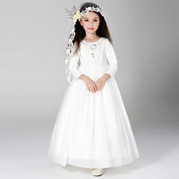 2016 New Winter Flower Girl Dresses for Wedding White Long Sleeved Lovely Princess Children First Communion Party Prom Dress