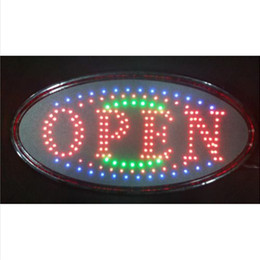 Wholesale 20PCS x10 x0 LED OPEN Animated LED advertising Ultra Bright Led Neon Light OVAL OPEN w Motion Animation ON OFF switch Sign