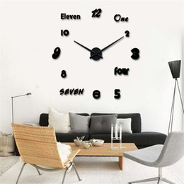 Wholesale Modern Fashion DIY Large Wall Acrylic Clock D Sticker Quartz English Number and Arabic Numerals Clock Home Wall Decor