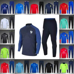 Wholesale Soccer tracksuits Best quality survetement football training suit sweater top soccer jogging pants chandal football