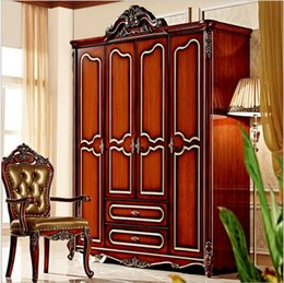 Wholesale hot selling new arrival four door wardrobe Antique European whole wardrobe French rural furniture wardrobe pfy5002